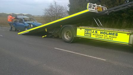One of the cars involved in the collision on the A47 at Guyhirn being recovered