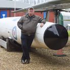 The aviation museum has a new replica Thor missile. Pictured is Bill Welbourne. Picture: Ian Burt