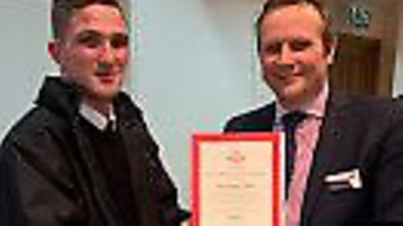 Andrew Kiddie of Welwyn Garden City receives his certificate