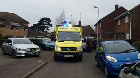 An ambulance struggling to get through Holly Close Picture: Julie Simson