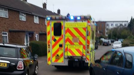 An ambulance struggles to get through Holly Close Picture: Julie Simson