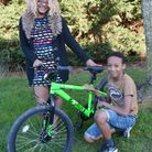 Avionne Jones with her son Yusabion and the bike