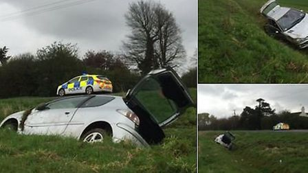 Crashed car on A1101 at Newton, Wisbech