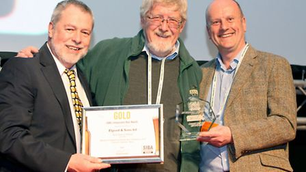 Guy Shepherd (SIBA President), Head Brewer of Elgood''s, Alan Pateman, and category sponsor, David A