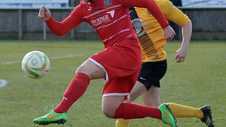 Stuart Cobb's first half strike secured a point for Wisbech Town. Picture: Steve Williams.