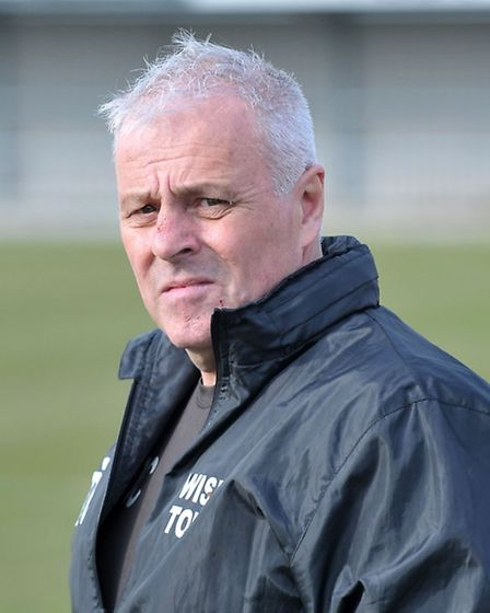 Dick Creasey looks on in Wisbech Town's 1-1 draw with Harborough Town. Picture: Steve Williams.