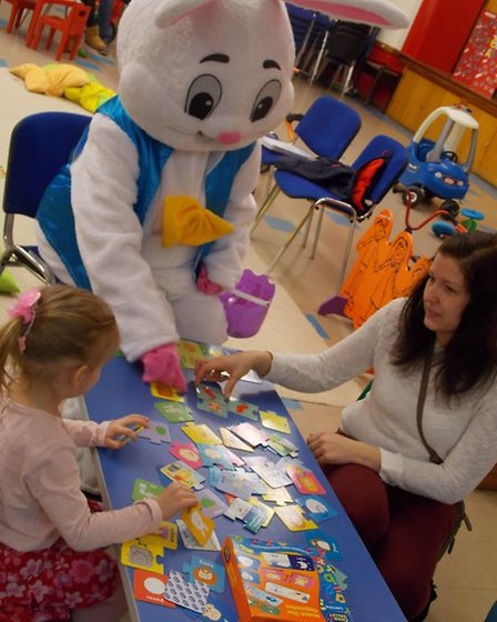 Easter Bunny visit to Trinity