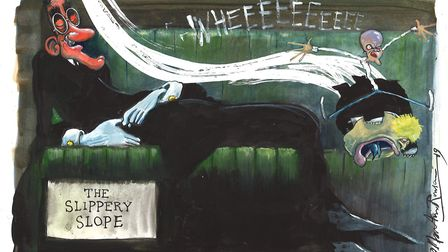 'The Slippery Slope' in Westminster is a failure in which both sides are to blame. Illustration: Mar