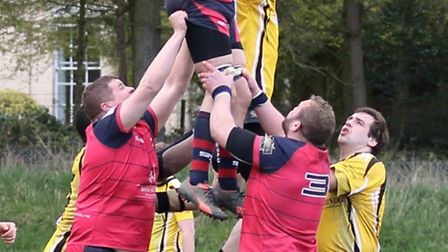 Sam Anderson takes a lineout in Wisbech's disappointing final day defeat to Swaffham.