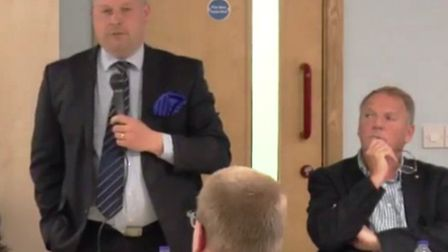 Tory candidate for police commissioner Jason Ablewhite responds to questions at a hustings event in