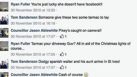 A screen shot of the private Facebook page of Jason Ablewhite now made public and subject to questio