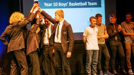 Thomas Clarkson Academy Year 10 boys basketball team celebrate their win