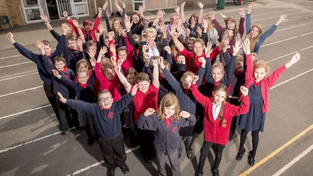 Peckover Primary celebrating their Ofsted report.