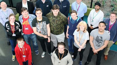 Staff and students on the Dragon's Den day