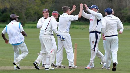 Sam Rippington celebrates taking a golden duck in Wisbech's 184 run victory over Foxton. Picture: St