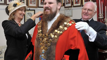 Wisbech Mayor making at Wisbech town hall. New Mayor Garry Tibbs. having the chain of office fitted