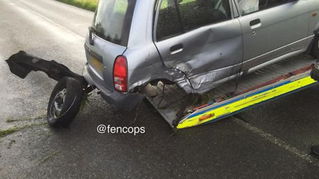 Two drivers suffered minor injuries following a two car collision on the Leverington Common junction