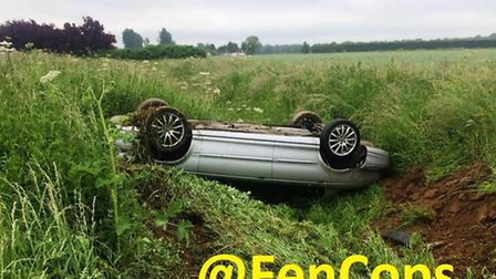 Police are concerned for the welfare of the driver of this Jaguar which was found overturned in a di