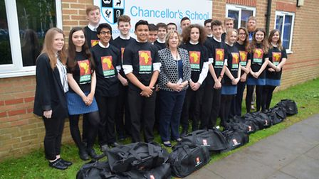 Year 11 pupils with head of A faculty Amanda Campbell and deputy head of 6th form Phil Hobbs