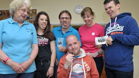 Edible insect eating day by Dan Dare at the Wisbech Salvation Army Hall. Dan Dare eating a Giant Wat