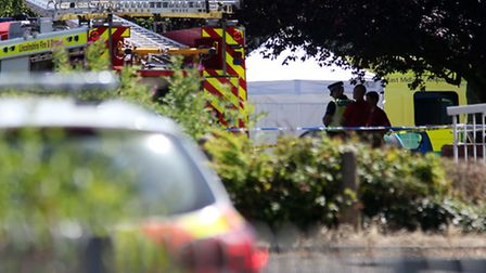 Emergency services at the scene near Castle Swimming Pool in Spalding, Lincolnshire, after three peo