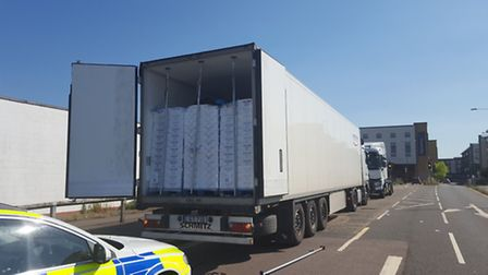 The suspected illegal immigrants were found in this lorry
