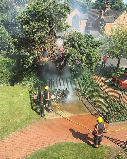 Bins set on fire near Elton House, Tinkers Drove, Wisbech