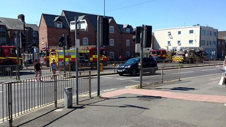 Five fire engines on the scene of the building fire around one hour ago