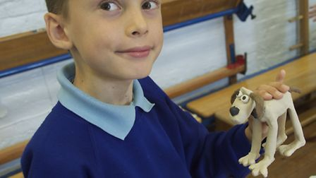 Northaw pupil William with his model of Gromit