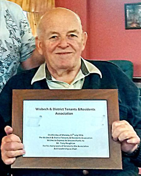 Wisbech & District Tenants & Residents Association . Tony Roughton with his certificate.
