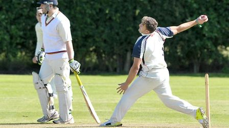 Danny Emmington bowling for Wisbech Town 2nds. Picture: Steve Williams.