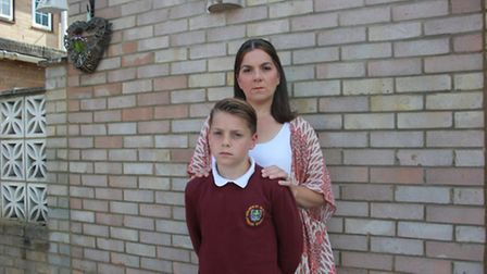 Vinny Clarke, 10, with his mum Donna