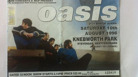 Oasis Knebworth gig ticket for Saturday, August 10, 1996