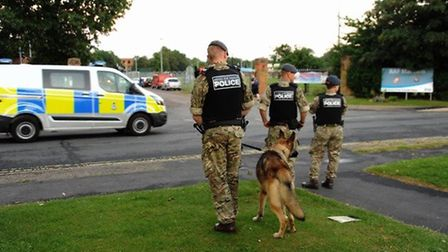 Police at RAF Marham after a man was threatened with a knife