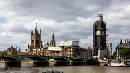 A view of the Houses of Parliament (Palace of Westminster) and Elizabeth Tower (Big Ben) in London.