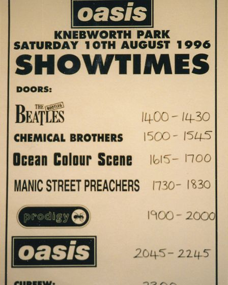 Oasis showtime poster at Knebworth in 1996