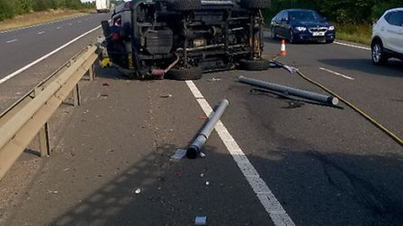 Several people suffer neck injuries after crash on A47 westbound Thorney bypass.