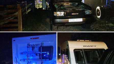 Police recovered a truck and a caravan after they were stolen near Wisbech last night.