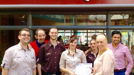 The Costa Coffee team from the Horsefair have been presented an award of excellence by Costa's natio