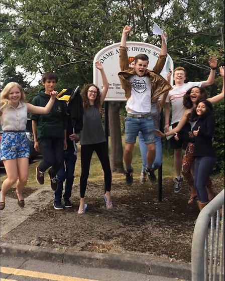 Dame Alice Owen's students jumping for joy after A-level success