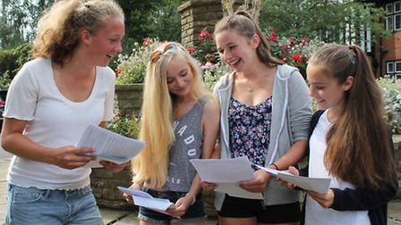 Girls from Queenswood School celebrating their GCSE results