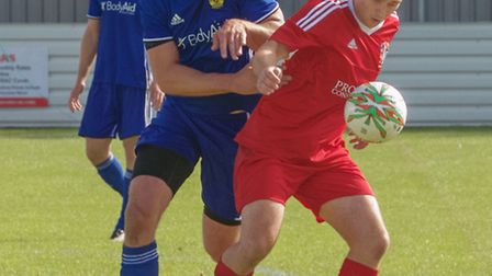 Edgaras Buzas netted Wisbech's consolation goal as they were swept aside by Peterborough Sports. Pho