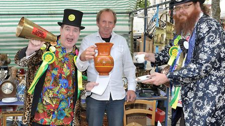 Lord Toby Jug and Lord Bungle with stall holder Martin White. Picture: Steve Williams.