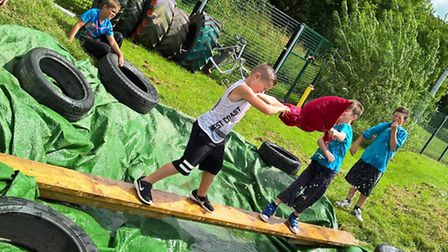 Soggy pillow fights were part of the fun at Wisbech Adventure Playground.