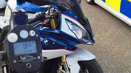 Motorcyclist reported for driving 160mph on the A47 Thorney.