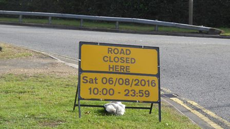 A sign in Old Hatfield warning of road closures ahead of the Eastern Electrics festival