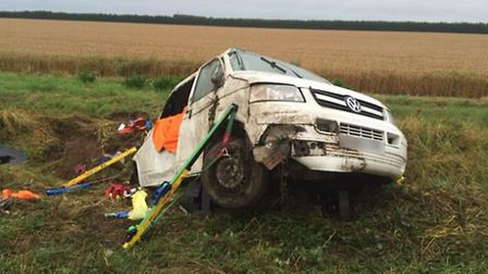 Recovery of crashed van at Leverington