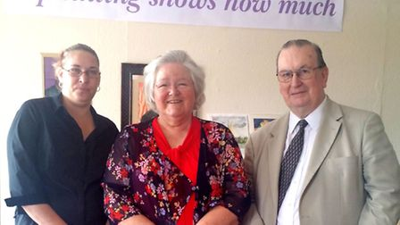 Coffee Tree director Jo Goude, watercolour painter Marilyn Hyde and former chairman of Wisbech St Ma