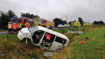 The scene of the minibus crash on the A1101 Sutton Road in Leverington yesterday