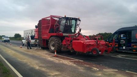 The combine harvester that split oil on the A47 and caused a back log for motorists